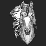 Paard, hoss, ridder, ros, courser Uitstekende motorfietshemlet Retro stijlillustratie met dierlijke fietser voor kinderen stock illustratie