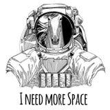 Paard, hoss, ros, courser dragend de exploratiehand getrokken illustratie van Spaceman Galaxy van de ruimtepak Wilde dierlijke as royalty-vrije illustratie