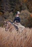 Paard-jaagt met ruiters in het berijden gewoonte Royalty-vrije Stock Afbeeldingen