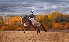 Paard-jaagt met ruiters in het berijden gewoonte Stock Afbeeldingen