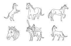 Paard, Lijnvector Stock Foto