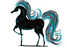 Paard met blauwe manen Stock Fotografie