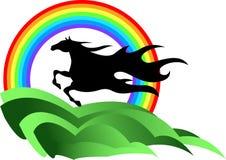 Paard met regenboog Stock Afbeelding