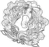 Paard met wolken, bloemen en bladeren Kleurende pagina stock illustratie
