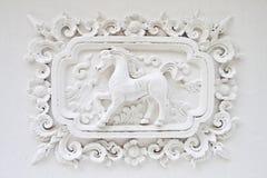 Paard op witte muur Royalty-vrije Stock Afbeelding