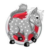 Paard Oriënteer horoscoopteken in cirkel Chinese symbolen Stock Afbeeldingen