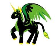 Paard Pegasus met een hoorn Royalty-vrije Stock Afbeeldingen