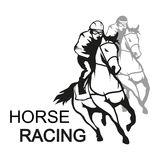 Paard Racing Jockey die op het rennen paard aan de afwerkingslijn lopen vector illustratie