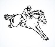 Paard Racing Vector tekening stock illustratie