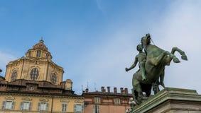 Paard Ruiterstandbeeld in Turijn Stock Foto
