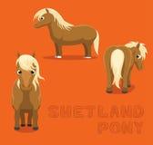 Paard Shetland Pony Cartoon Vector Illustration royalty-vrije illustratie
