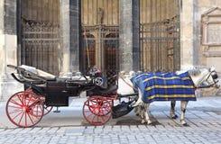 Paard twee in kaap met open kar Stock Afbeelding