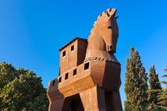 Paard van Troje - Troy Turkije stock afbeelding