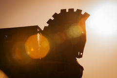 Paard van Trojestructuur bij Troy in Turkije Stock Foto's