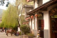 Paard wachtende toeristen in de oude stad van Shuhe. Royalty-vrije Stock Afbeeldingen