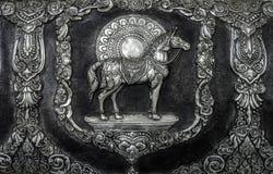 Paardbeeldhouwwerk op de tempelmuur Royalty-vrije Stock Foto
