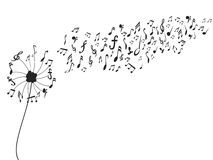 Paardebloem met muzieknota's royalty-vrije illustratie