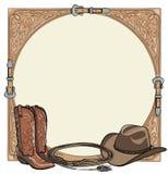 Paarden berijdend de kopspijkerhulpmiddel van het cowboypaard in het westelijke kader van de leerriem stock illustratie