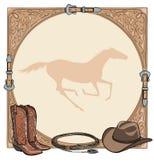 Paarden berijdend de kopspijkerhulpmiddel van het cowboypaard in het westelijke kader van de leerriem Westelijke laars, hoed, las royalty-vrije illustratie