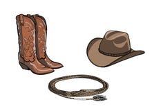 Paarden berijdend de kopspijkerhulpmiddel van het cowboypaard Westelijke laars, hoed, lassokabel vector illustratie