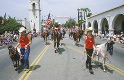 Paarden in 4 de Parade van Juli, Ojai Californië Stock Foto's