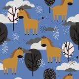 Paarden en bomen, decoratieve leuke achtergrond Kleurrijk naadloos patroon met dieren, wolken vector illustratie