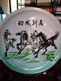 Paarden in het traditionele Chinese schilderen stock illustratie
