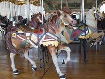 Paarden op de carrousel van traditionele kermisterreinjane in Brooklyn Stock Fotografie