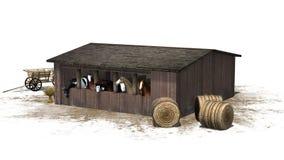 Paarden in schuur - op witte achtergrond wordt geïsoleerd die Royalty-vrije Stock Afbeeldingen