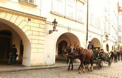 Paardenauto in straat van Praag Stock Afbeelding