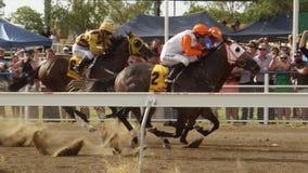 Paardenrennen en menigte in langzame motie stock video