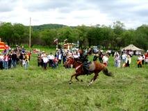 Paardenrennen Sabantuy Kamchatka stock foto's