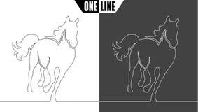 Paardpictogram op wit en zwart Stock Fotografie