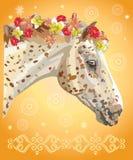 Paardportret met flowers10 Royalty-vrije Illustratie