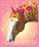 Paardportret met flowers3 Stock Illustratie