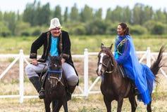 Paardrijden in Kyrgyzstan Royalty-vrije Stock Foto's
