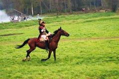 Paardruiter bij Borodino-het slag historische weer invoeren in Rusland Royalty-vrije Stock Afbeeldingen