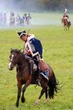 Paardruiter bij Borodino-het slag historische weer invoeren in Rusland Royalty-vrije Stock Fotografie