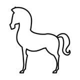 Paardsilhouet geïsoleerd pictogram Royalty-vrije Stock Afbeeldingen