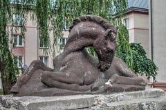 Paardstandbeeld in Trutnov in de Tsjechische Republiek Royalty-vrije Stock Foto
