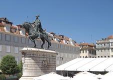 Paardstandbeeld van Dom Joao in Lissabon in Portugal stock afbeelding