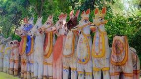Paardtempel, Tamil Nadu, India Royalty-vrije Stock Afbeeldingen