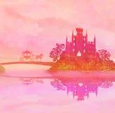 Paardvervoer en een middeleeuws kasteel vector illustratie