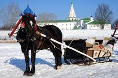 Paardvervoer op de achtergrond van het Kremlin in Suzdal Royalty-vrije Stock Foto