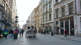 Paardvervoer op de straat dichtbij Hoofdmarktvierkant stock videobeelden