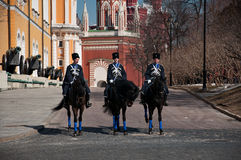 Paardwachten in Moskou het Kremlin, Rusland Royalty-vrije Stock Fotografie