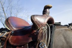 Paardzadel, leer Royalty-vrije Stock Afbeeldingen