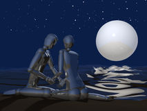 Paare 3D auf Nachtstrand Stockbilder