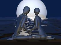 Paare 3D auf Nachtstrand Lizenzfreies Stockbild