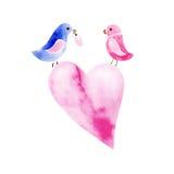 Paare Aquarellvögel Lizenzfreies Stockbild